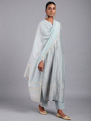 Blue Cotton Chanderi Dupatta with Gota Work