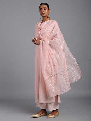 Pink Cotton Chanderi Dupatta with Gota Work