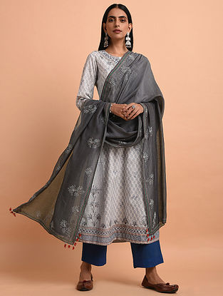 Grey Cotton Dupatta with Quilting and Bead Detailing