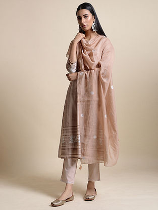 Dusty Peach Cotton Chanderi Dupatta