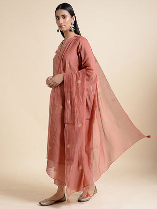 Pink Cotton Chanderi Dupatta