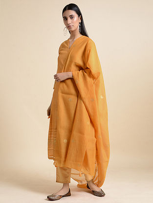 Yellow Cotton Chanderi Dupatta
