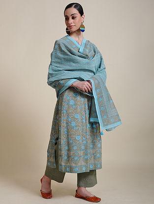 Blue Block Printed Cotton Chanderi Dupatta