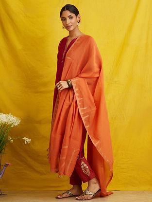 Orange Embroidered Chanderi Cotton Dupatta