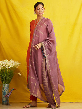 Purple Embroidered Chanderi Cotton Dupatta