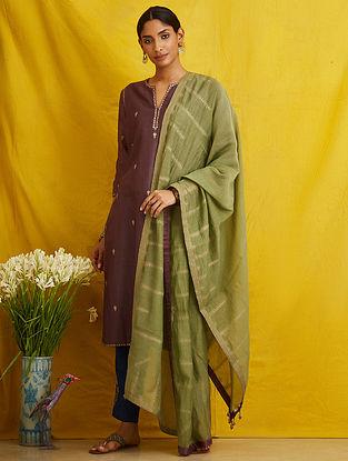 Green Embroidered Chanderi Cotton Dupatta