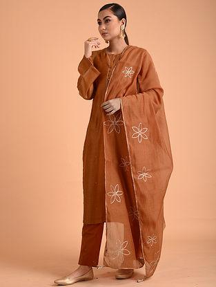 Orange Chanderi Cotton Dupatta with Gota Details
