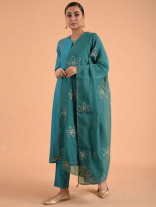 Green Chanderi Cotton Dupatta with Gota Details