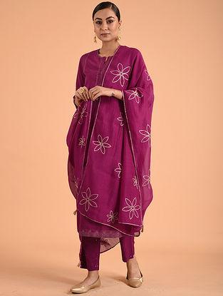 Deep Fuchsia Chanderi Cotton Dupatta with Gota Details