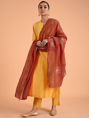 Red Chanderi Cotton Dupatta with Gota Details
