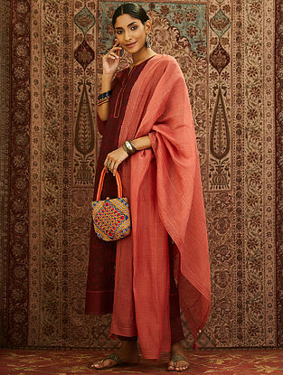 Dark Peach Emroidered Cotton Chanderi Dupatta