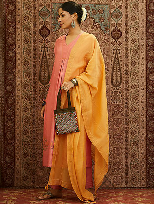 Yellow Emroidered Cotton Chanderi Dupatta