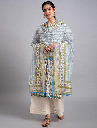 Blue Green Block Printed Cotton Chanderi Dupatta