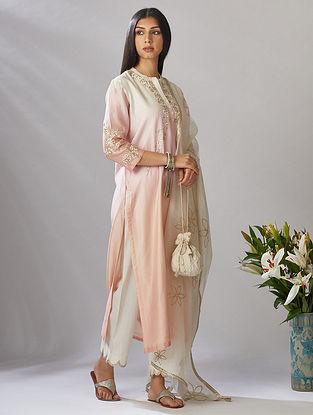 Ivory Gota Trimmed Cotton Chanderi Dupatta