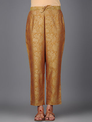 Mustard Khari-printed Elasticated Tie-up Waist Chanderi Pants