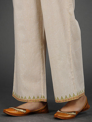 Ivory Block-printed Cotton Palazzos