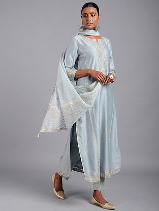 Blue Zari-embroidered Chanderi Kurta with Gota Work