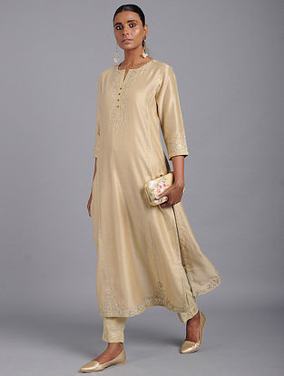 Golden Zari-embroidered Chanderi Kurta with Gota Work