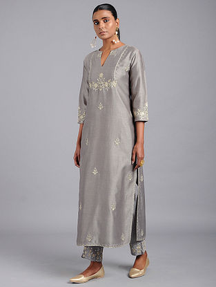 Grey Zari-embroidered Chanderi Kurta with Gota Work