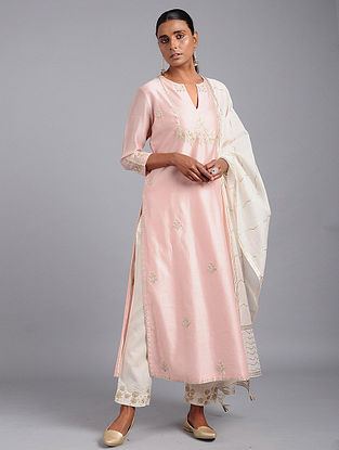 Pink Zari-embroidered Chanderi Kurta with Gota Work