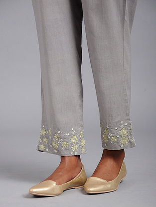 Grey Cotton Pants with Gota and Sequins Work