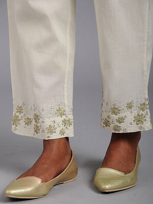 White Cotton Pants with Gota and Sequins Work