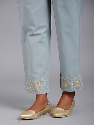 Blue Cotton Pants with Gota and Sequins Work