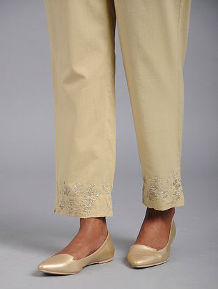 Golden Cotton Pants with Gota and Sequins Work