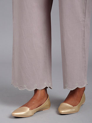 Onion Pink Scalloped embroidered Cotton Palazzos