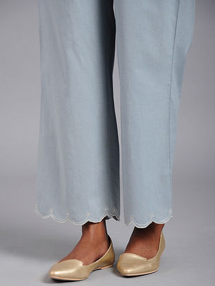 Blue Scalloped embroidered Cotton Palazzos