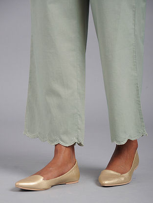 Dusty Green Scalloped embroidered Cotton Palazzos