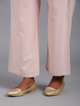 Pink Zari-embroidered Cotton Palazzos