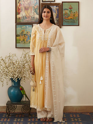 Yellow Mirror-Embroidered Chanderi Kurta
