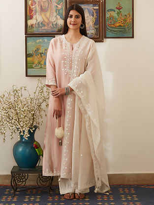 Pink Mirror-Embroidered Chanderi Kurta