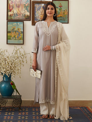 Grey Mirror-Embroidered Chanderi Kurta