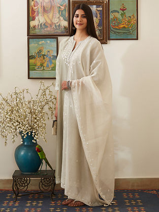Dusty Green Mirror-Embroidered Chanderi Kurta