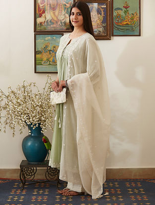 Ivory Mirror-Embroidered Chanderi Dupatta