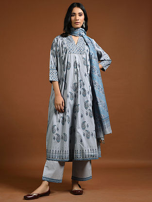Indigo Block-Printed Cotton Kurta