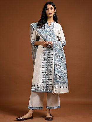 Ivory-Indigo Block-Printed Cotton Kurta