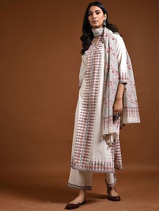 Ivory-Red Block-Printed Cotton Kurta