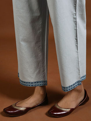 Indigo Block-Printed Cotton Pants