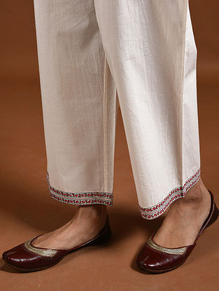 Ivory-Red Block-Printed Cotton Pants