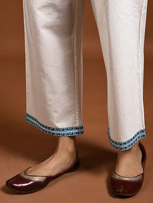 Ivory- Blue Block-Printed Cotton Pants