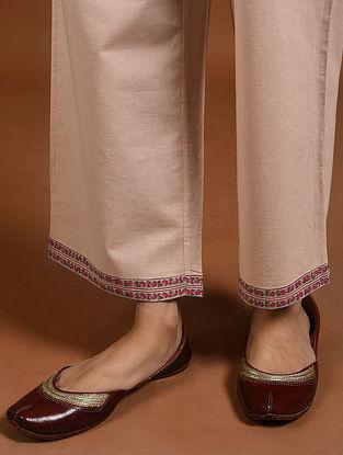 Peach Block-Printed Cotton Pants
