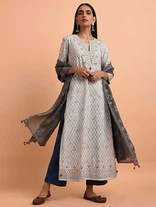 Ivory Blue Floral Block Printed Cotton Kurta with Quilting and Bead Detailing
