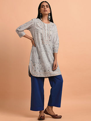 Ivory Blue Floral Block Printed Cotton Short Kurta with Quilting and Bead Detailing