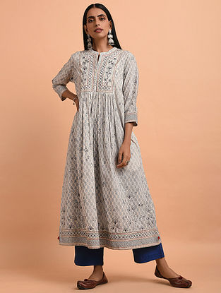 802fbe1df6 Ivory Blue Floral Block Printed Cotton Kurta with Quilting and Bead  Detailing