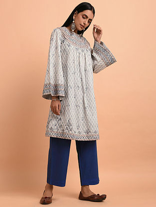 a6f6b40a8d Ivory Blue Floral Block Printed Cotton Short Kurta with Quilting and Bead  Detailing
