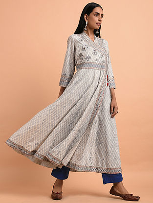 c038cdf08e Ivory Blue Floral Block Printed Cotton Angrakha Kurta with Quilting and  Bead Detailing