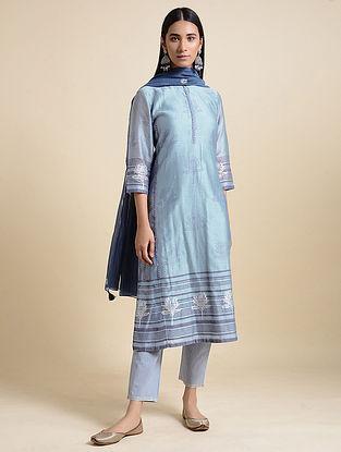 Dusty Blue Block Printed Chanderi Kurta